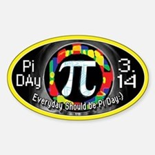 Pi Day 3.14 Yellow Ring Sticker (Oval)