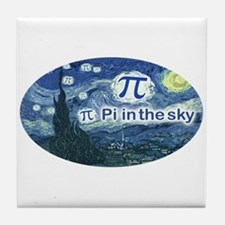 Pi in the Sky Oval Tile Coaster