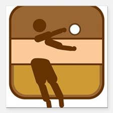 """Volleyball Square Car Magnet 3"""" x 3"""""""
