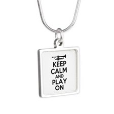 Keep Calm and Play On Trumpet Silver Square Neckla