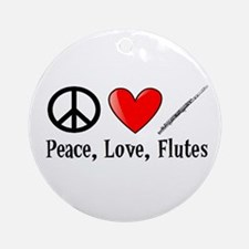 Peace, Love, Flutes Ornament (Round)