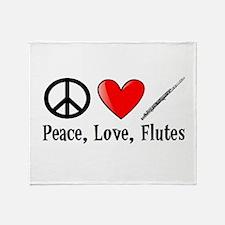 Peace, Love, Flutes Throw Blanket