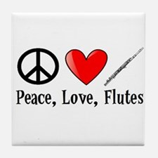 Peace, Love, Flutes Tile Coaster