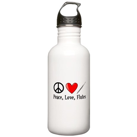 Peace, Love, Flutes Water Bottle