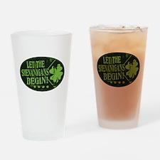 Shenanigans Begin Black Green Drinking Glass