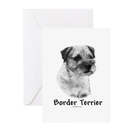 Border Terrier Charcoal Greeting Cards (Package of