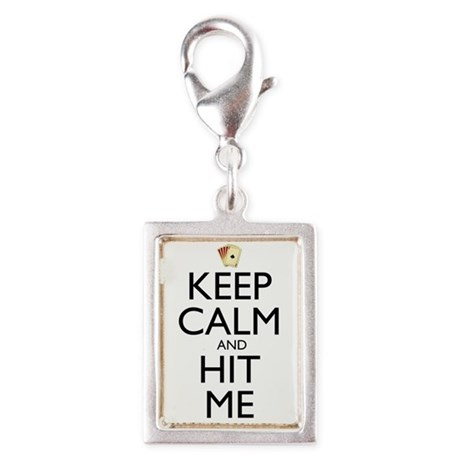 Keep Calm and Hit Me Silver Portrait Charm