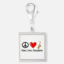 Peace, Love, and Saxophone Silver Square Charm
