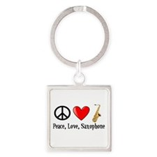 Peace, Love, and Saxophone Square Keychain