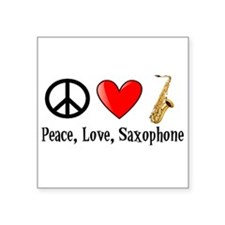 Peace, Love, and Saxophone Sticker