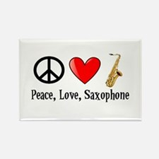 Peace, Love, and Saxophone Rectangle Magnet