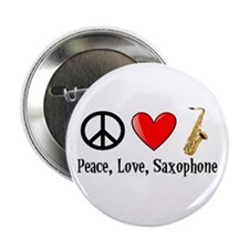 """Peace, Love, and Saxophone 2.25"""" Button"""