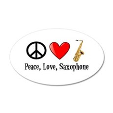 Peace, Love, and Saxophone Wall Decal