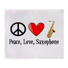 Peace, Love, and Saxophone Throw Blanket