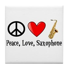 Peace, Love, and Saxophone Tile Coaster