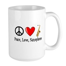 Peace, Love, and Saxophone Mug
