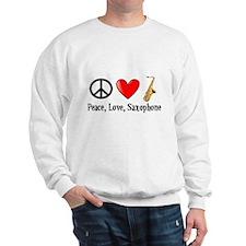Peace, Love, and Saxophone Sweatshirt