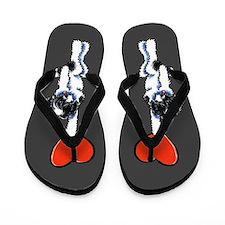 Black Parti Havanese Heart Flip Flops