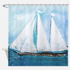 Beautiful Yacht Painting Shower Curtain