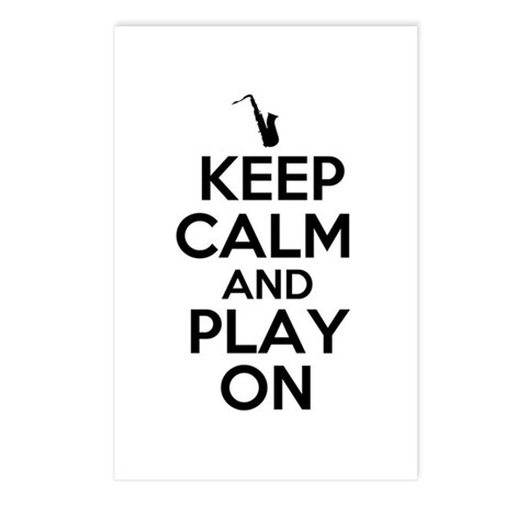 Keep Calm and Play On Sax Postcards (Package of 8)