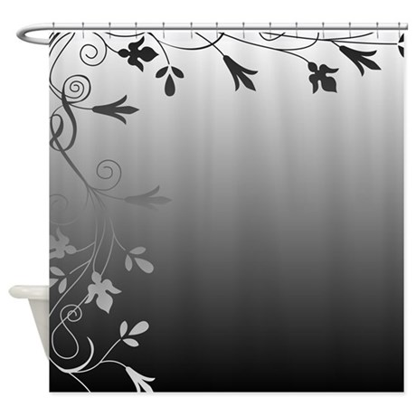 Black and white floral design shower curtain by for Black and white curtain designs
