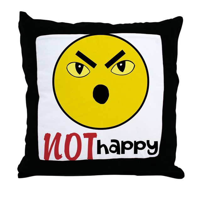 Not Happy Face Throw Pillow By Debbiesdesignscapmnt