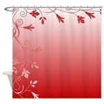 Red and White Floral Shower Curtain