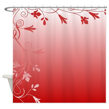 Red And White Floral Shower Curtain By Stolenmomentsph