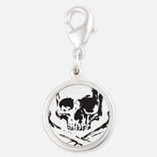 Skull and Bones Silver Round Charm
