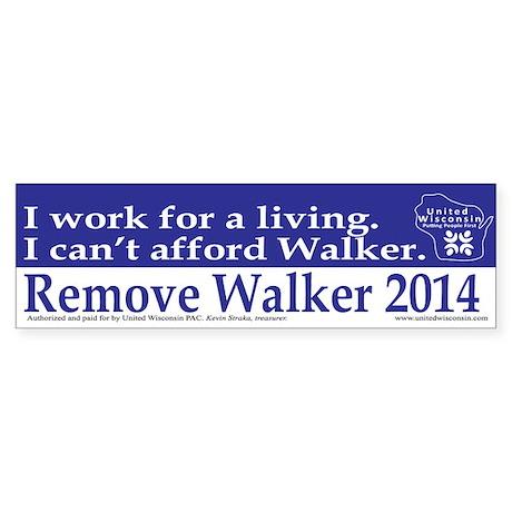 I Cant Afford Walker Bumper Sticker