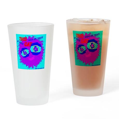 Monster Cat High on Treats Drinking Glass