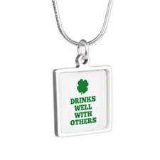 Drinks Well With Others Silver Square Necklace