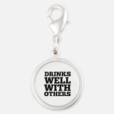 Drinks Well With Others Silver Round Charm