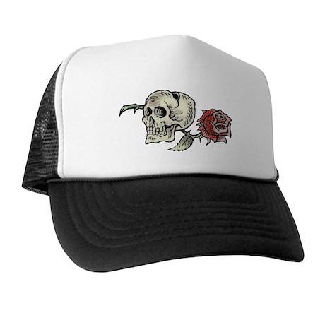 Skull and Rose Trucker Hat