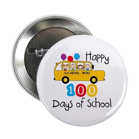 "School Bus Celebrate 100 Days 2.25"" Button"