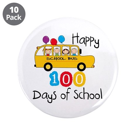 "School Bus Celebrate 100 Days 3.5"" Button (10 pack"