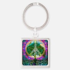 Tree of Life World Peace Square Keychain