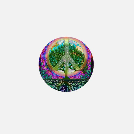 Tree of Life World Peace Mini Button