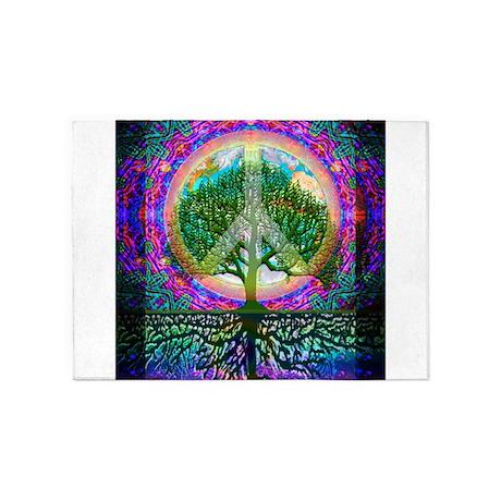Wonderful Tree Of Life World Peace 5u0027x7u0027Area Rug