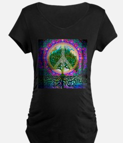 Tree of Life World Peace Maternity T-Shirt