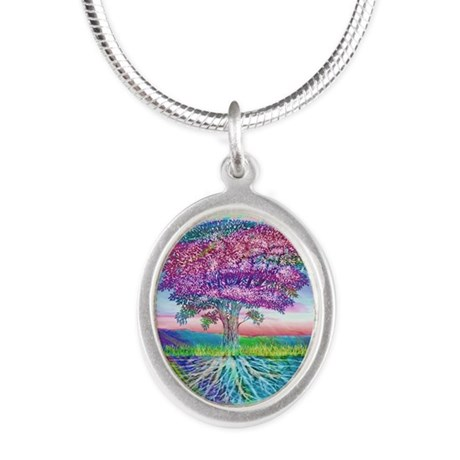 Tree of Life Blessings Silver Oval Necklace