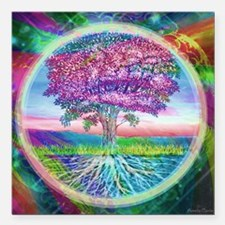 """Tree of Life Blessings Square Car Magnet 3"""" x 3"""""""
