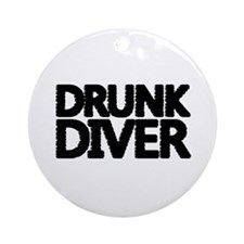 'Drunk Diver' Ornament (Round)