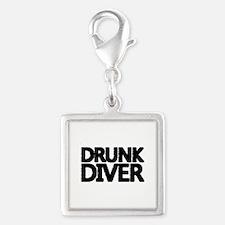 'Drunk Diver' Silver Square Charm