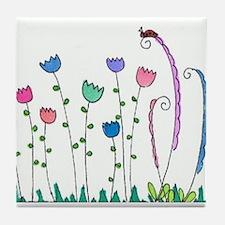 Spring Tulips Flowers Lady Bug Doodle Art Design T