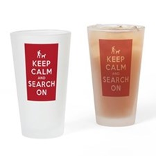 Keep Calm and Search On (Dog Team) Drinking Glass