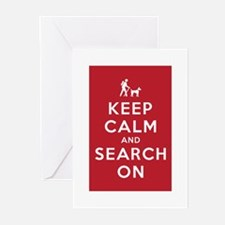 Keep Calm and Search On (Dog Team) Greeting Cards
