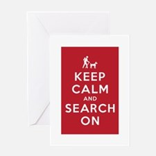Keep Calm and Search On (Dog Team) Greeting Card
