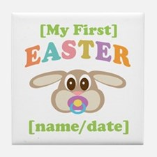 PERSONALIZE Baby Rabbit Easter Tile Coaster