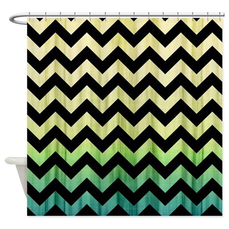 Yellow Green Chevron Pattern Shower Curtain By Thehomeshop